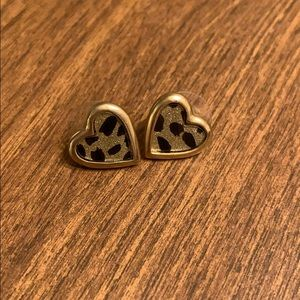 Betsy Johnson Cheetah Print Heart Stud Earrings